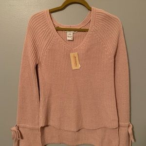American rag Long sleeve pink sweater with V-neck